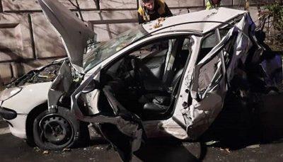 متلاشی شدن پژو ۲۰۶ پس از واژگونی در بزرگراه رسالت واژگونی خودرو, پژو ۲۰۶, بزرگراه رسالت