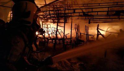 آتش سوزی گسترده در گاراژ قطعات اسقاطی خودرو در جاده خاوران گاراژ قطعات اسقاطی خودرو, جاده خاوران, آتش سوزی