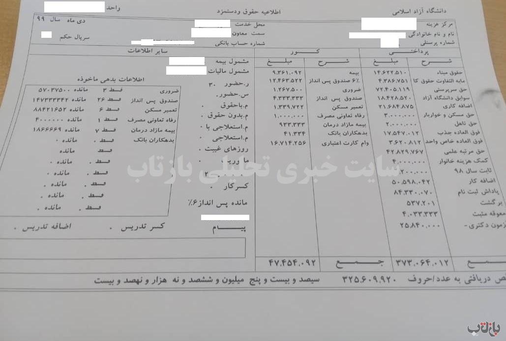 تقریباً 37 میلیون تومان؛ حقوق ماهیانه یک مسئول در دانشگاه آزاد + سند