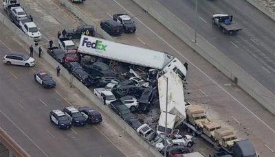 تصادف زنجیرهای در تگزاس ۹ کشته برجای گذاشت /فیلم