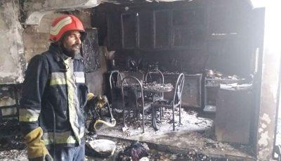 حریق گسترده مجتمع مسکونی در شهر سمنان