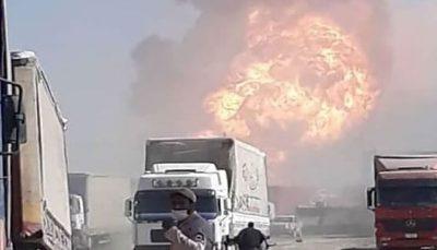 پرتاب عجیب تانکر به هوا در انفجار اسلام قلعه