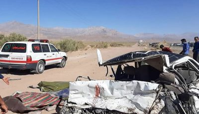 راننده وانت نیسان در اثر شدت ضربه وارده در محل حادثه فوت کرد