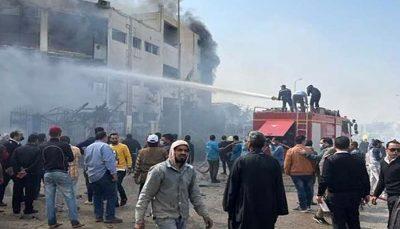 ۲۰ کارگر و زخمی شدن ۲۴ کارگر در آتشسوزی یک کارخانه در مصر مرگ ۲۰ کارگر و زخمی شدن ۲۴ کارگر در آتشسوزی یک کارخانه در مصر