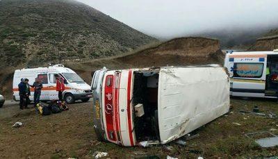 ۷ مجروح بر اثر واژگونی مینی بوس در محور کرمانشاه به اسلام آباد