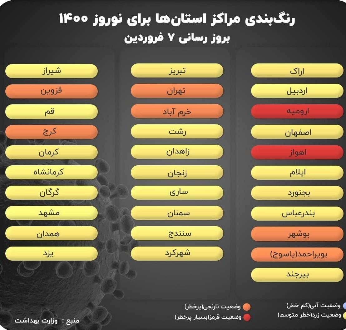 جدیدترین رنگبندی کرونایی در ایران / سفر به کدام شهرها ممنوع است؟ / جدول و نقشه