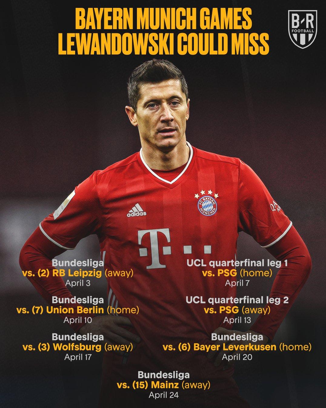 لواندوفسکی در کدام بازیها غایب خواهد بود؟/عکس