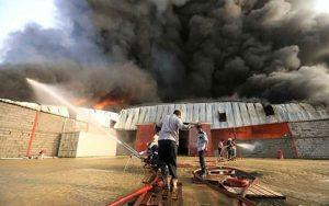 آتش سوزی در کارگاه صنعتی