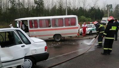 مینیبوس و پراید در جاده رشت لاکان تصادف مینیبوس و پراید در جاده رشت - لاکان/ 9 نفر کشته و زخمی شدند