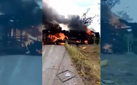 در تصادف اتوبوس در کنگو دهها تن زنده در آتش سوختند