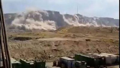 ریزش کوههای اطراف گناوه بر اثر زلزله