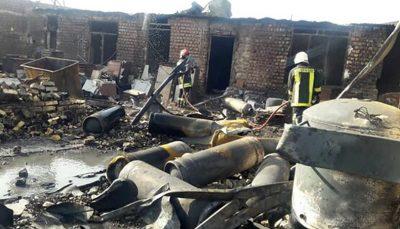 آتشسوزی کارخانه شارژ سلیندرهای گاز مایع درقم