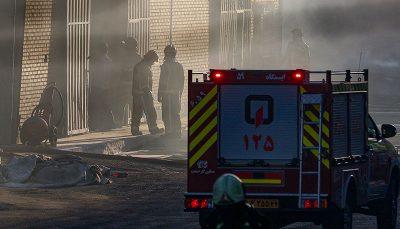 آتش سوزی در محوطه شرکت بهنوش