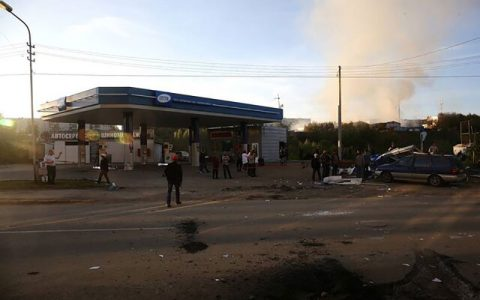 انفجار و آتش سوزی در پمپ بنزینی در روسیه