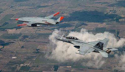 سوخت رسانی به هواپیماهای جنگی در حال پرواز با پهپاد