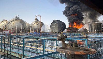 لحظه آتش سوزی مخزن در پالایشگاه تهران