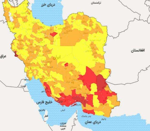 گسترش شهرهای قرمز کرونا از جنوب به سمت مرکز کشور