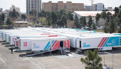 استقرار بیمارستان سیار ستاد اجرایی فرمان امام در کنار بیمارستان میلاد تهران