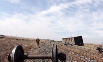 خروج ۶ واگن یک قطار باربری از خط
