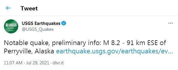 زلزله ۸.۲ ریشتری «آلاسکا» را به لرزه درآورد