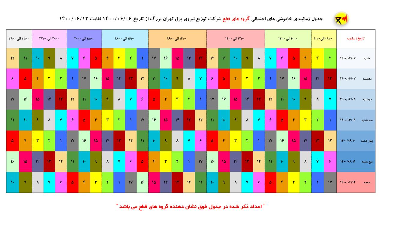 جدول خاموشیهای احتمالی پایتخت از ۶ تا ۱۲ شهریور
