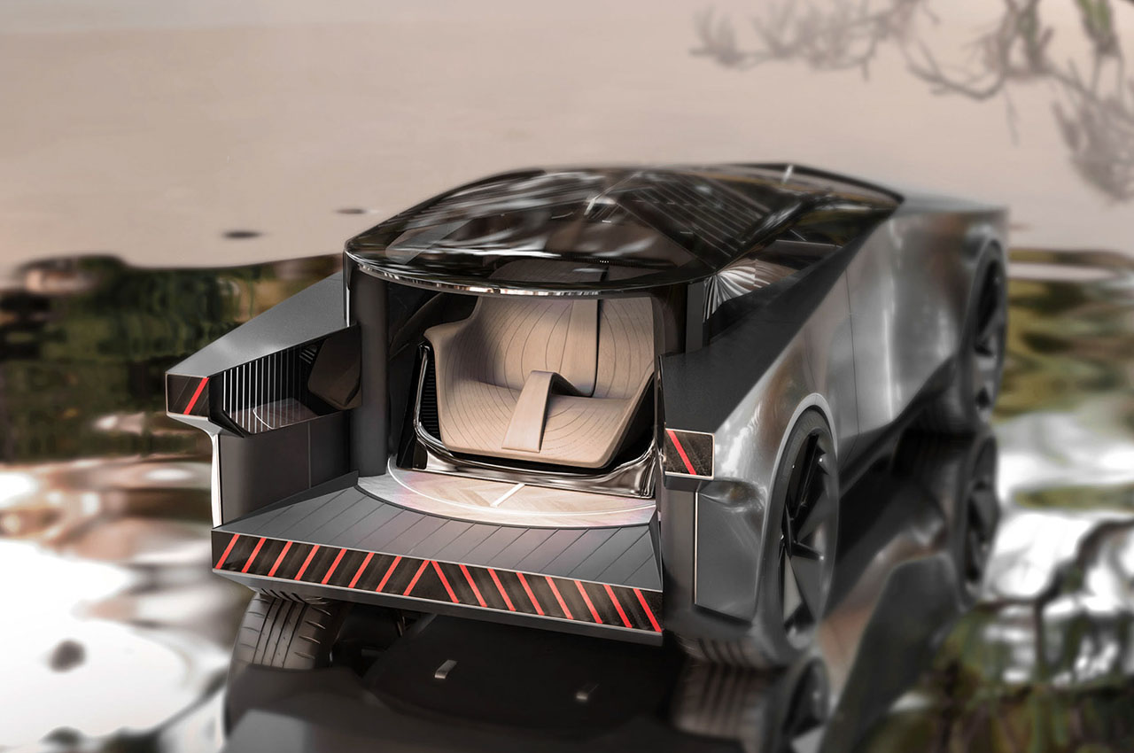 اینفینیتی QX90 مدل 2028؛ کپی جالبی از سایبرتراک کمپانی تسلا / عکس