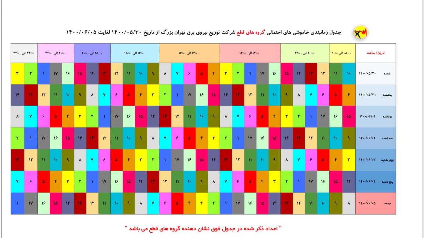 جدول خاموشیهای احتمالی پایتخت از ۳۰ مرداد تا ۵ شهریور