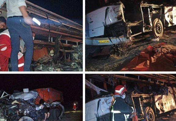 4 کشته در تصادف اتوبوس یزد - مشهد/عکس