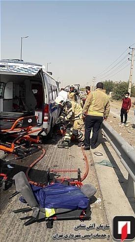 تصادف مرگبار آمبولانس با کامیون/ تصاویر