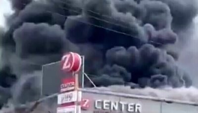 آتشسوزی بزرگ در یک مجتمع تجاری در سرزمینهای اشغالی