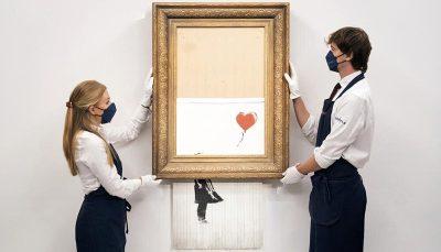 نقاشی خودویرانگر بنکسی ۲۵ میلیون دلار چکش خورد و رکورد شکست